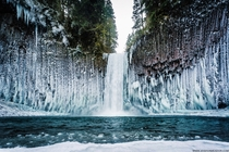 Abiqua Falls Oregon - Columnar basalt waterfall surrounded by ice