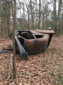 Abounded car I found while walking in the woods Seems to be some sort of s-s Chevy