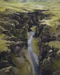 Above Fjarrgljfur Canyon Iceland