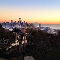 Above the Seattle fog at sunset today