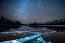 Abraham Lakes Crystal Clear Ice at Night