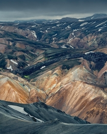Abstract landscape in the highlands of Iceland
