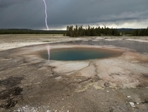 Accidental capture of lightning in Opal Sprint Midway Geyser Basin Yellowstone NP