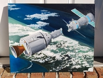 Acrylic painting i did of Apollo-Soyuz