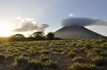 Active and yet very peaceful Volcan Concepcin at dusk Ometepe Island Nicaragua