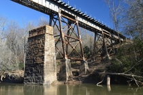 Active RR Bridge Over Yellow River Old Bridge Supports Still Below Covington GA - CSX -