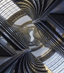 Actual atrium shot of the new Soho Tower designed by Zaha Hadid Architects in Beijing
