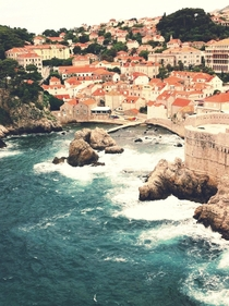 Adriatic sea brushing the banks of Dubrovnik Croatia