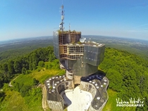 Aerial Photo of a Futuristic Monument in Croatia - Petrova Gora