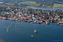 Aerial photo of picturesque Lunenburg Nova Scotia A UNESCO World Heritage Site and birthplace of the schooner Bluenose thats portrayed on the Canadian dime