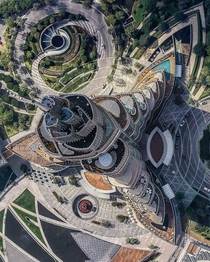 Aerial shot of Burj Khalifa