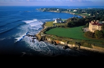 Aerial shot of Newport Rhode Island USA