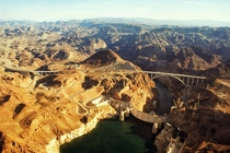 Aerial shot of the terrific Hoover Dam and Hoover Dam Bypass Bridge