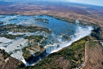 Aerial shot of Victoria Falls ZimbabweZambia  x-post from rAerialPorn