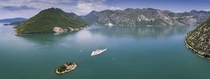 Aerial shot over the Bay of Kotor Montenegro