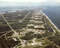 Aerial veiw of the launch pads along Cape Canaveral Air Force Station