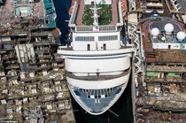 Aerial view at Aliaga Turkey shows the fate and progress of the  cruise ships undergoing scrapping