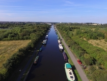 Aerial view of a boating canal in Wakefield