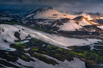 Aerial view of a remote part of the Highlands of Iceland  marcgrassiphotography