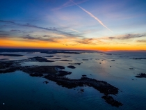 Aerial view of a smoothy after-sunset Brittany coast France