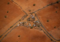 Aerial view of a typical homestead on the outskirts of the southern Somali port city of Kismayo
