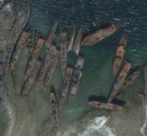 Aerial view of abandon Russian warships