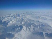 Aerial view of an Alaskan mountain range