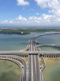 Aerial view of Bali toll road above the sea