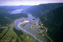 Aerial view of Bonneville Dam