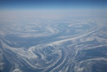 Aerial view of eddies in the frigid Labrador Current taken from a trans-Atlantic flight