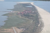 Aerial view of Juist one of the East Frisian Islands along the German coast of the North Sea