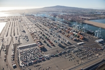 Aerial view of LA Docks during the current labor strife -