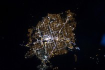 Aerial view of Las Vegas at night  X