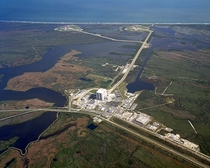 Aerial view of Launch Complex  including pads A and B and the VAB
