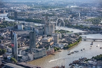 Aerial view of London and the Thames facing southwest