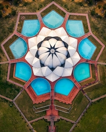 Aerial View of Lotus Temple at Delhi India
