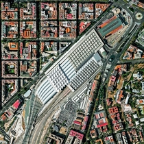 Aerial view of Madrid Atocha Railway Station the largest in Spain