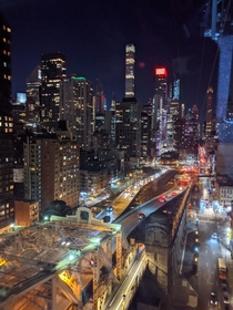 Aerial view of nightime NYC