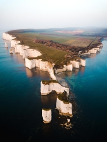 Aerial view of Old Harry Rocks Dorset UK