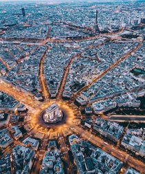Aerial view of Paris France