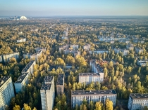 Aerial view of Pripyat evacuated and abandoned after Chernobyl disaster