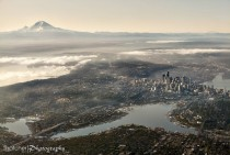 Aerial view of Seattle amp Mount Rainier x-post from rpics