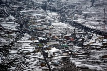 Aerial view of snow-covered Bhadarwah valley India