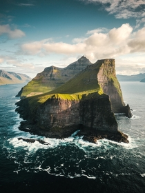 Aerial view of the Island of Kalsoy Faroe Islands