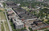 Aerial view of the largest abandoned factory in the world The Packard Factory Detroit