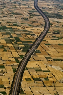 Aerial view of the M Motorway cutting through the plains of Punjab  By Tahir Kayani  x-post rExplorePakistan