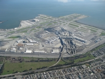 Aerial view of the San Francisco International Airport and its infrastructure