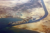 Aerial view of the southern entrance to the Suez Canal -