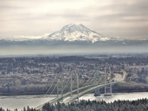 Aerial view of the Tacoma Narrows Bridge and Mt Rainier - Tacoma Washington US