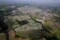 Aerial view of the vast temporary city which has sprung up at the Glastonbury Festival